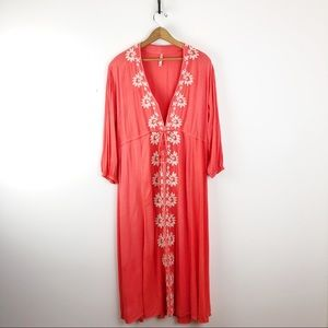 Coral Embroidered Boho Maxi Beach Cover Up Dress